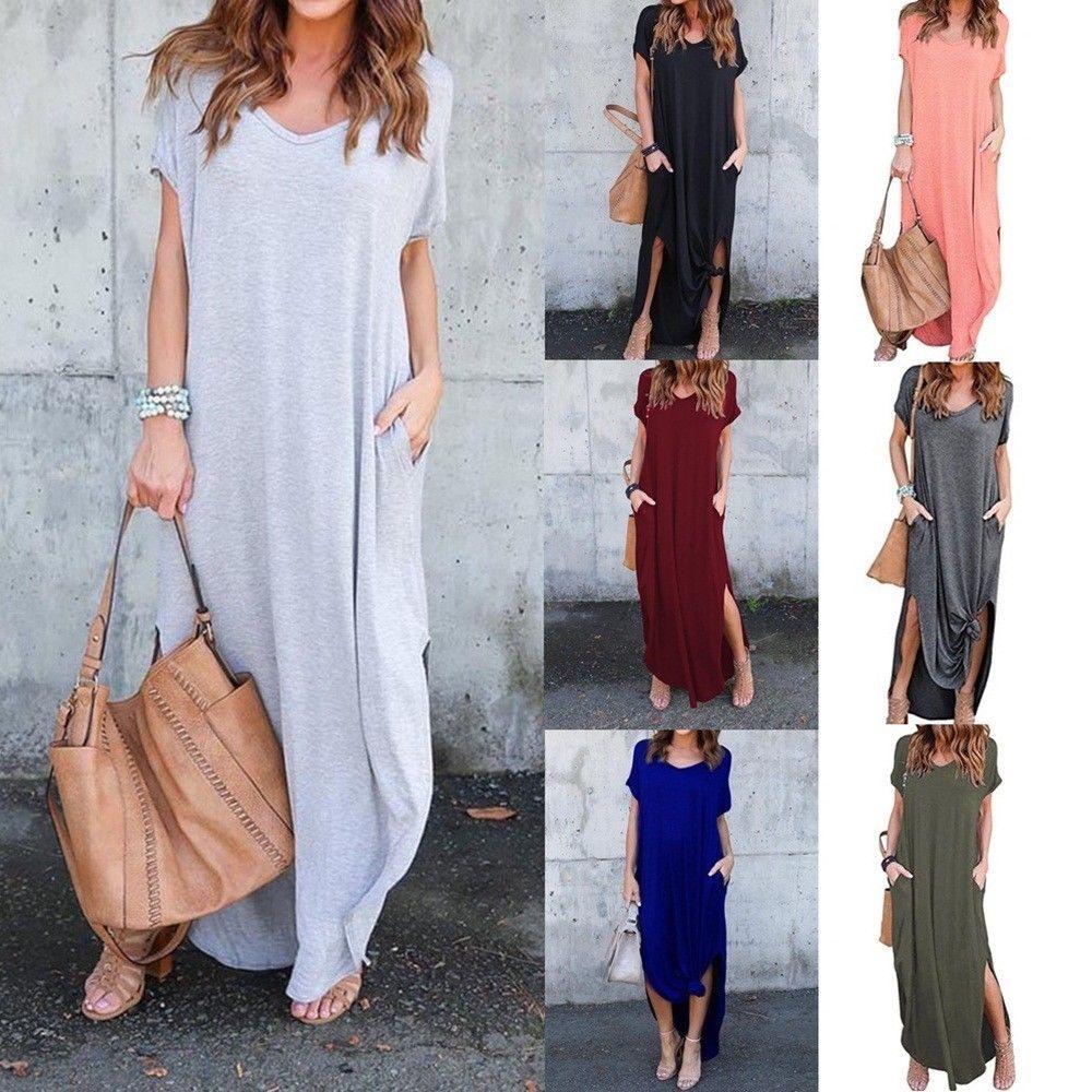 Us women casual tshirt long maxi dress split evening party dress