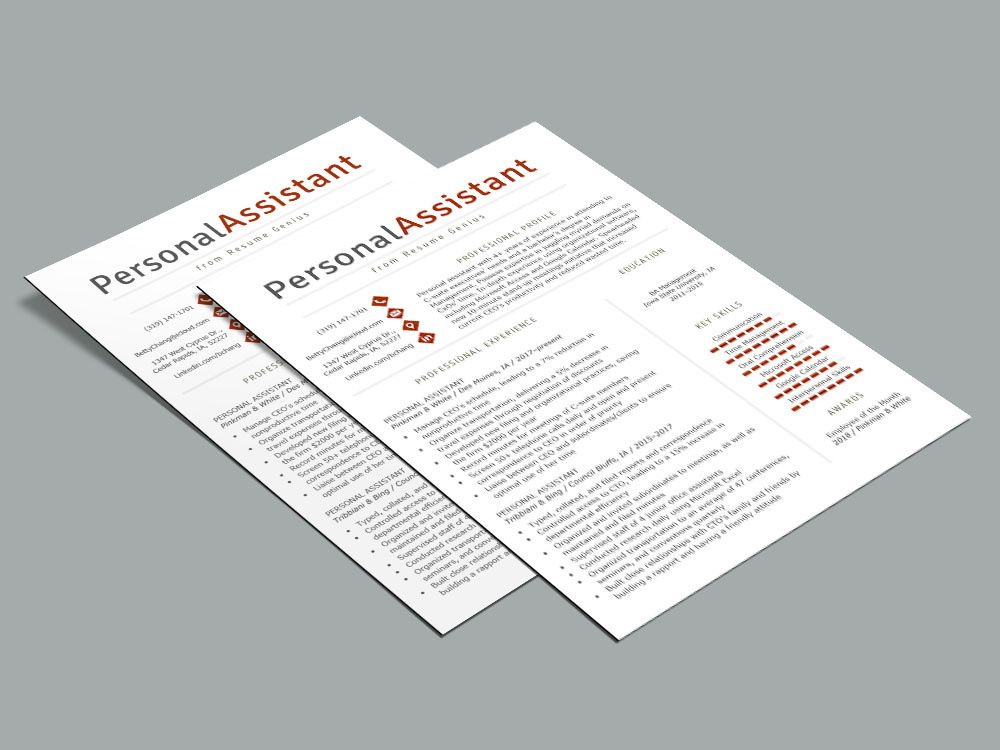 Free personal assistant resume template