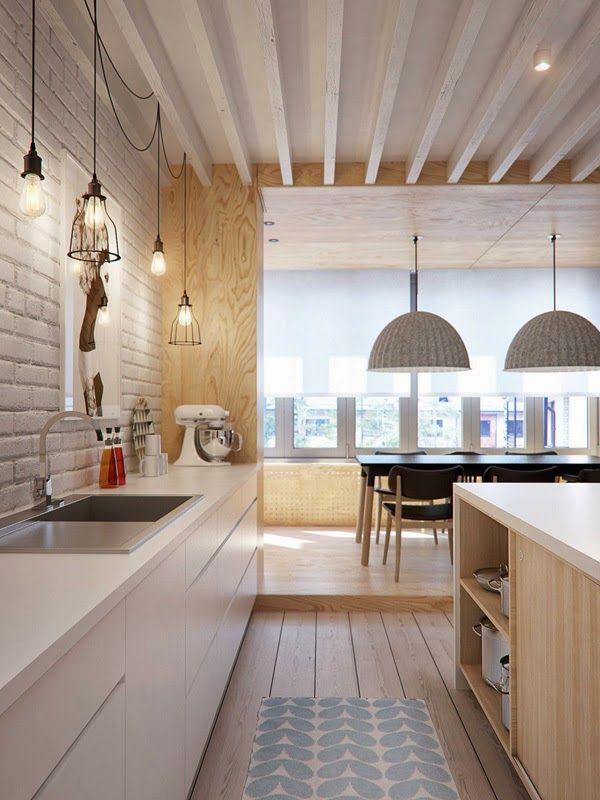 séjour salle à manger bois naturel blanc et noir CUISINE