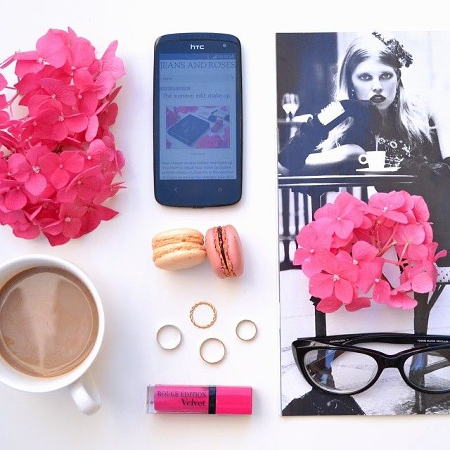 Mood boosters: coffee, hydrangeas, bright pink lipgloss. #summer #flatlay