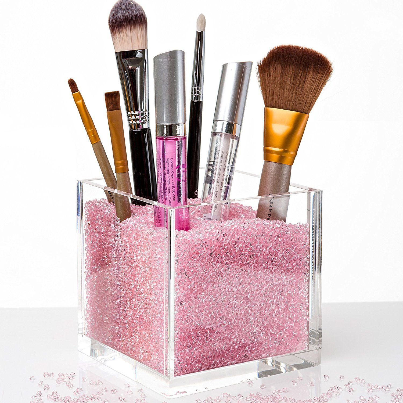 Acrylic Makeup Organizer & Makeup Brush Holders with PINK