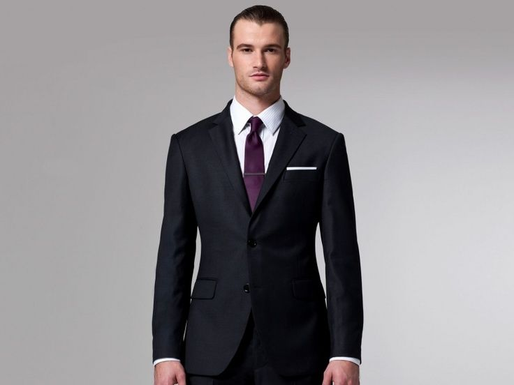 Charcoal grey suit. Dark purple tie. | Wedding Ideas | Pinterest ...