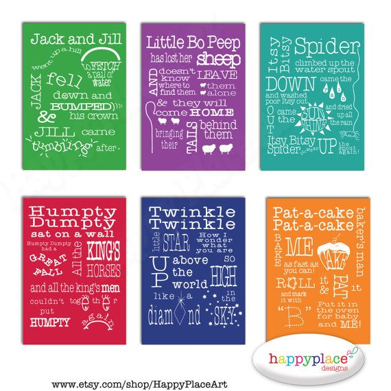 6 Nursery Rhyme Printable Wall Art