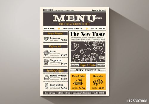 Newspaper Caf Menu  Graphic Design Template