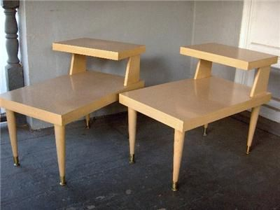 Vtg Set Mid Century Modern Blonde Wood Formica Coffee Step End Tables