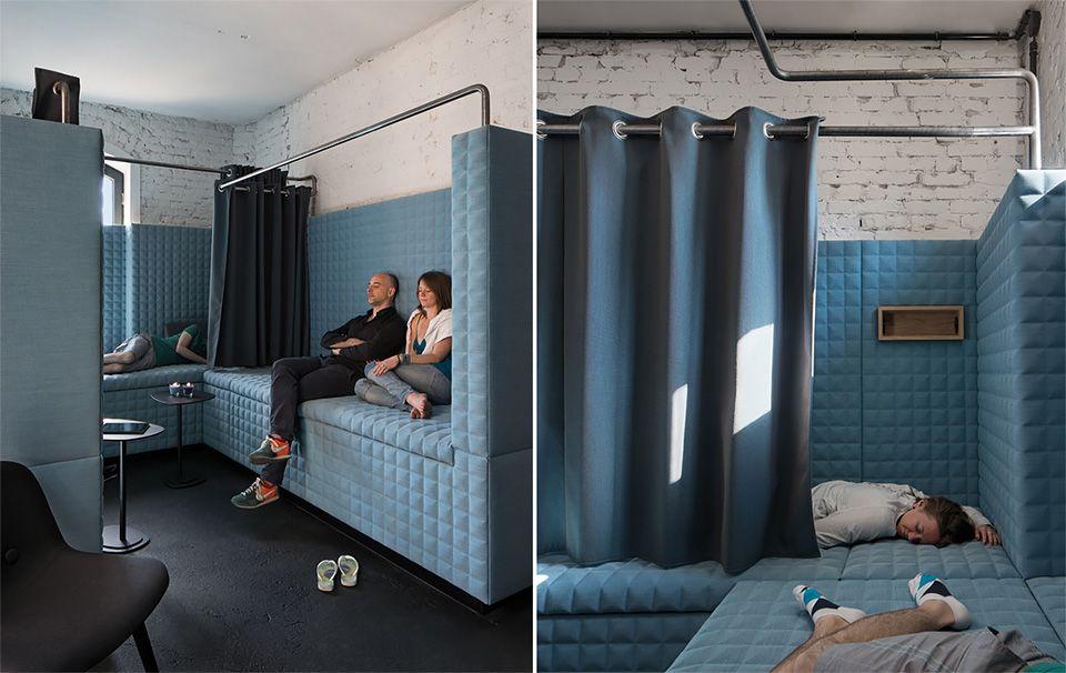 Por dentro do SoundCloud A Nap Room (sala do cochilo) é à prova de som e foi construída com material eco-friendly