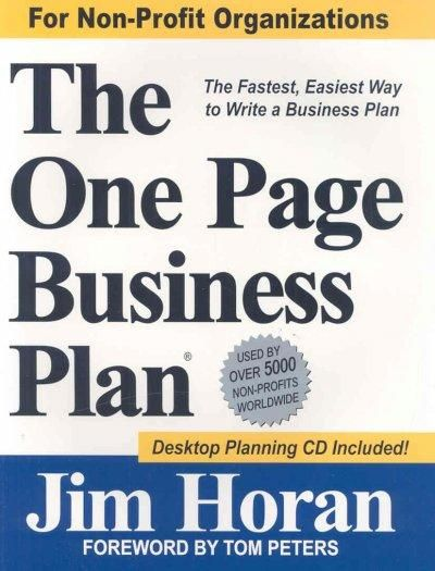 The One Page Business Plan Non-profit Edition the Fastest - non profit business plan template