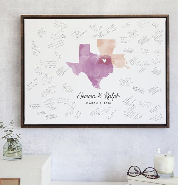 Wedding Guest Book Alternative Watercolor Map for Unique