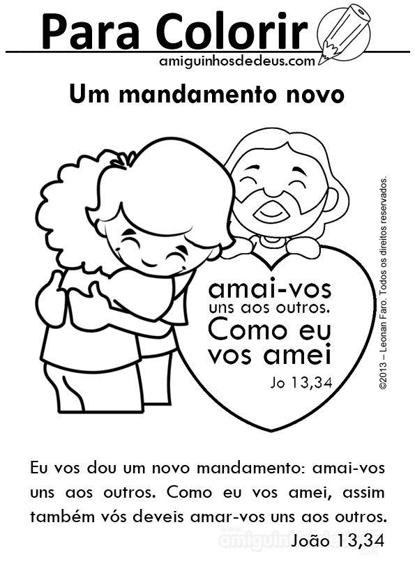 Novo Mandamento Jpg 595 842 Atividades Biblicas Para Criancas