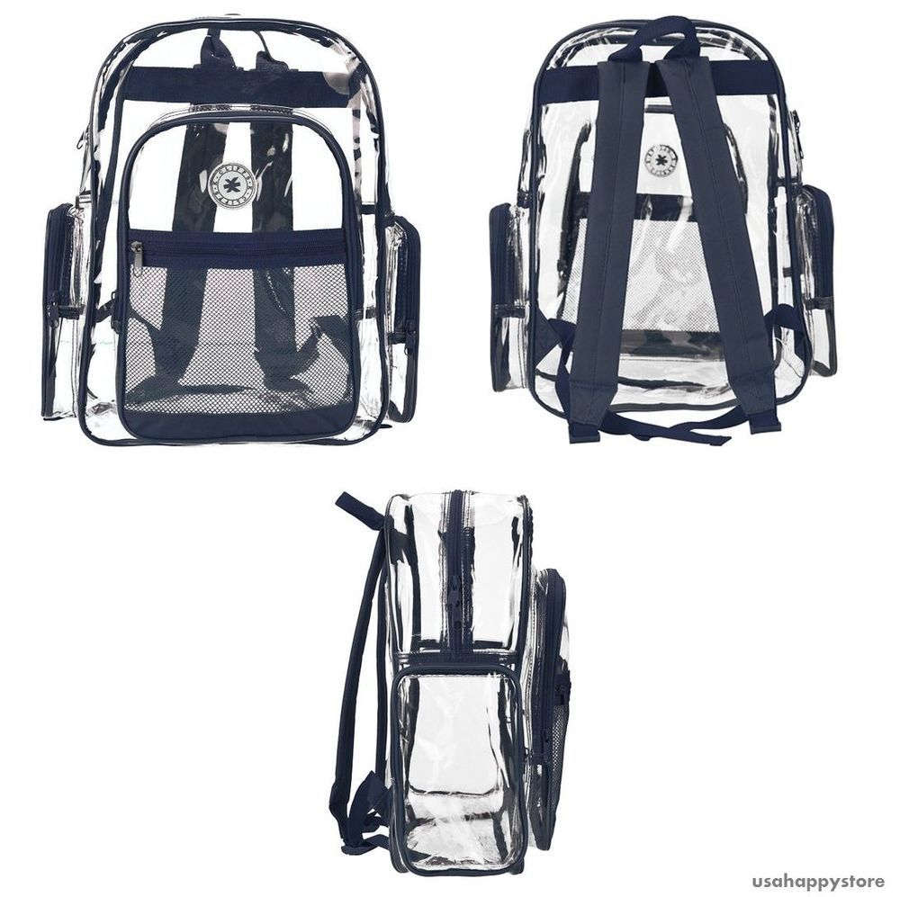 Clear Plastic Backpack Kids School Book Bag Shoulder Boys Girls Unisex Travel #MyGift
