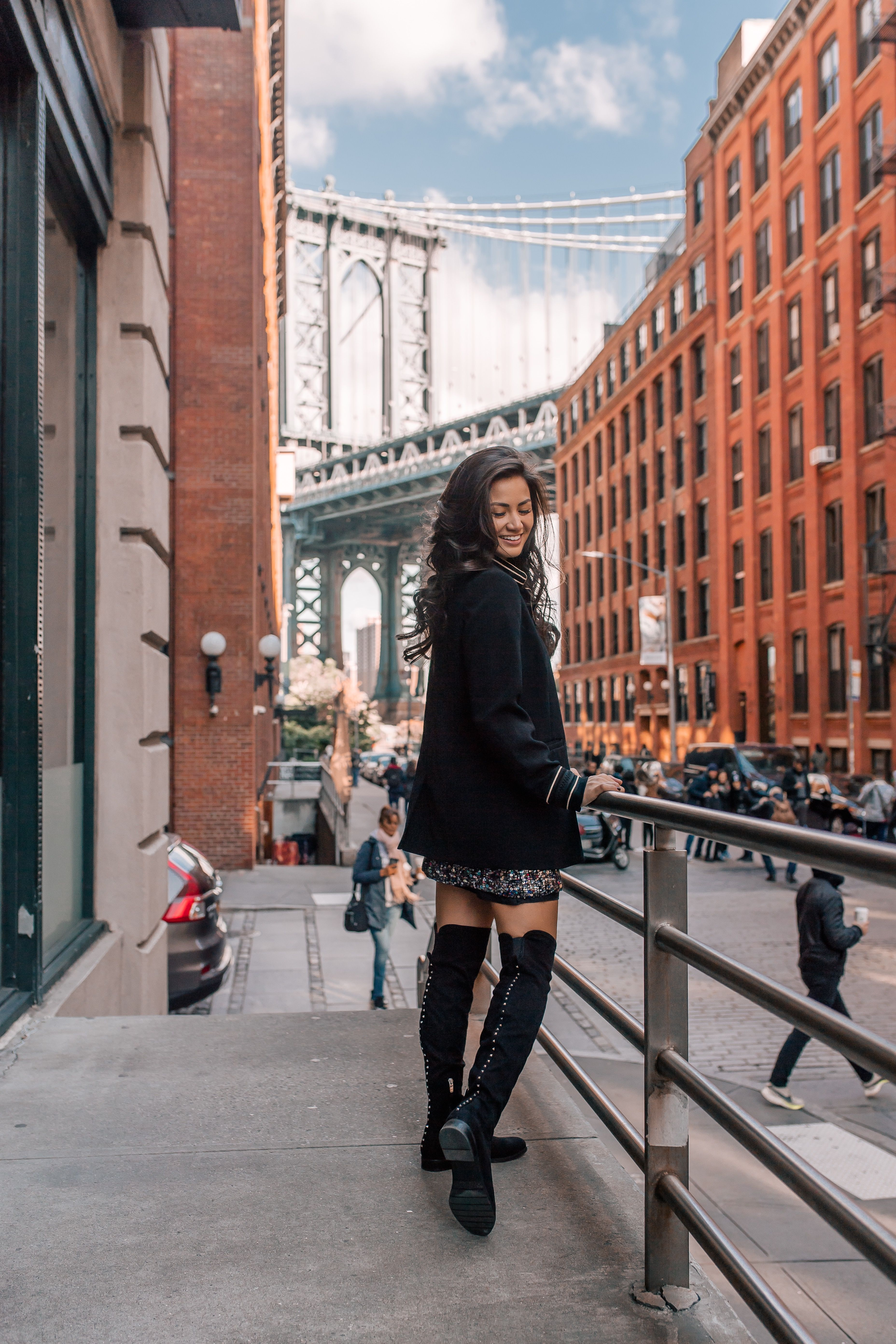 a64306b309 DSW shoes Winter | Winter outfit ideas | NYC street style | nyc fashion  bloggers | Brooklyn | Manhattan Bridge photoshoot | black over the knee  boots ...