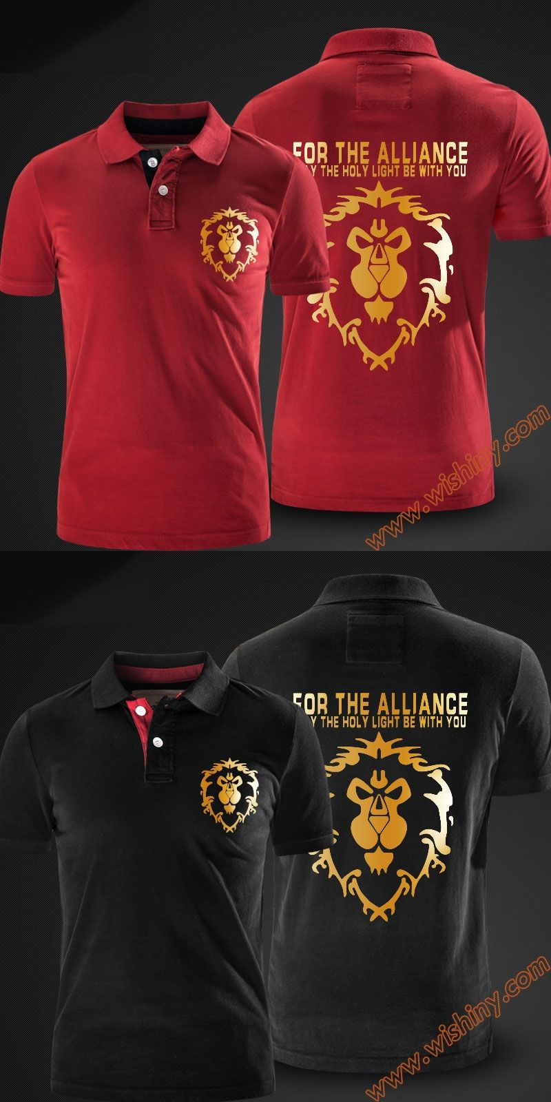 Cool Wow Alliance Golden Lion Logo Polo Shirts Men Short Sleeve Tops