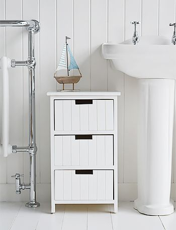 brighton white bathroom cabinet furniture with drawers. coastal