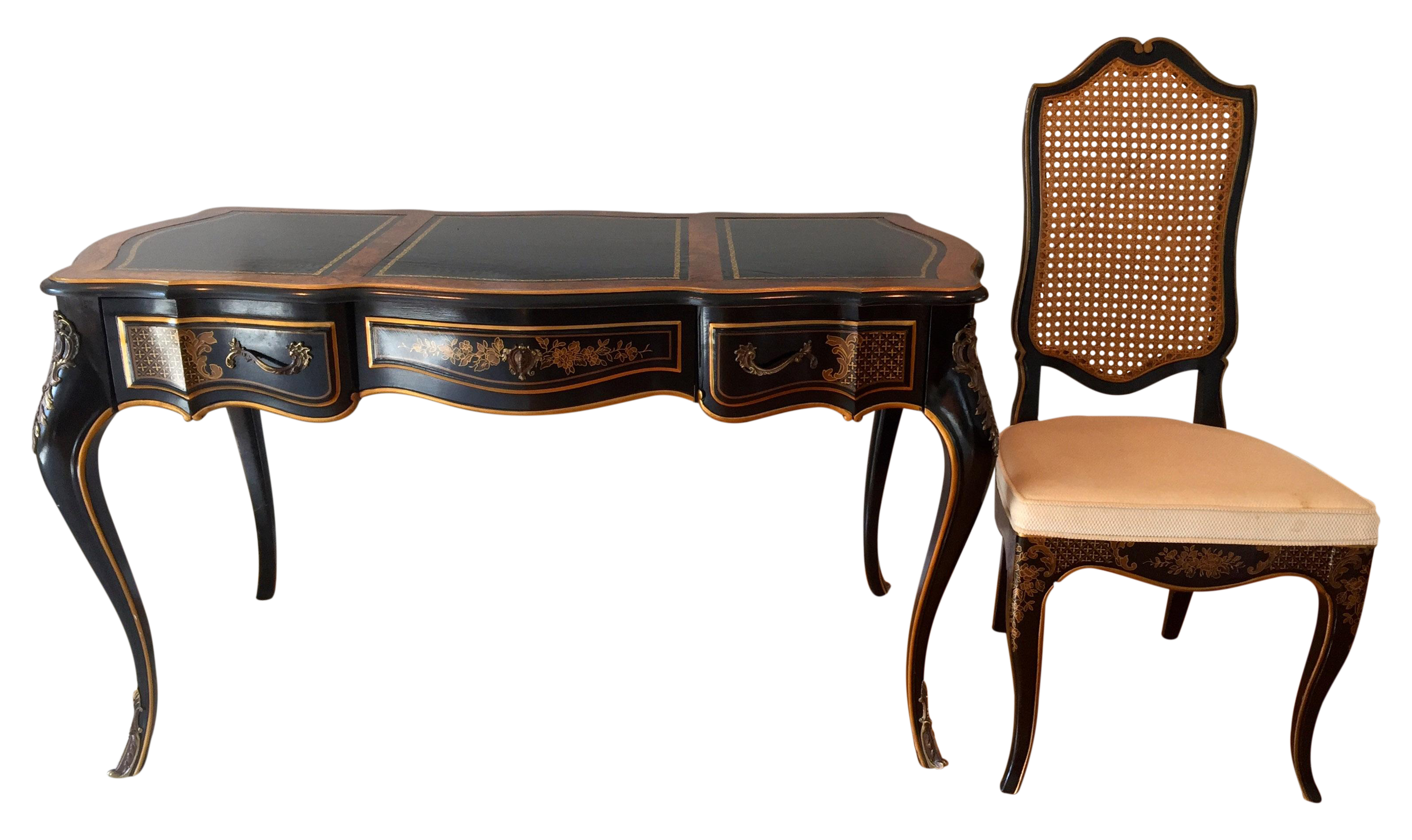 Beautiful Drexel Chinoiserie Decorated Leather Top Writing Desk With Matching Chair Solid Brass Handl Leather Top Writing Desk Desk Dimensions Matching Chairs