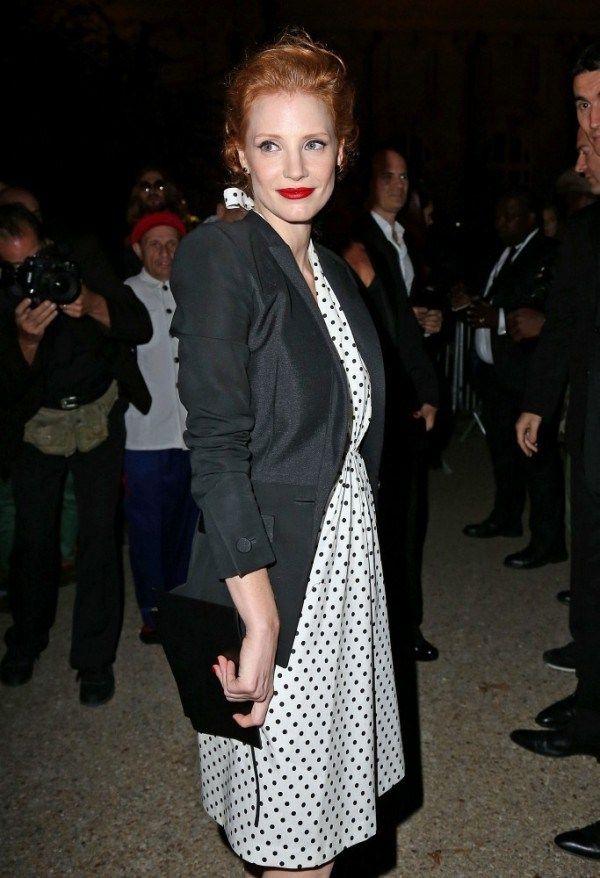 Jessica-Chastain-Wearing-YSL-Polka-Dot-Dress-At-The-Yves-Saint-Laurent-Spring-2013-Presentation-Paris-Fashion-Week.-600x878