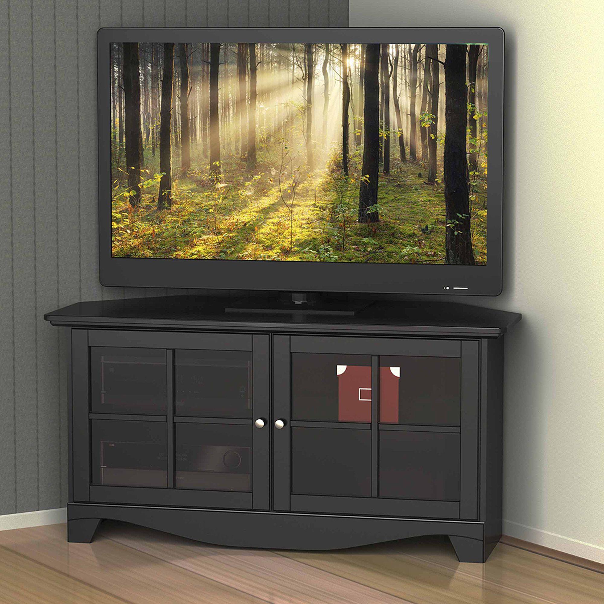 Walker Edison Black Corner Tv Stand For Tvs Up To 48 Multiple Colors Walmart Com Corner Tv Cabinets Corner Tv Corner Tv Stand