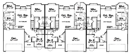 2BR 1300 sq ft garage in front | Blue Pear Floor Plans in ... Ranch House Plans Sq Ft Br on