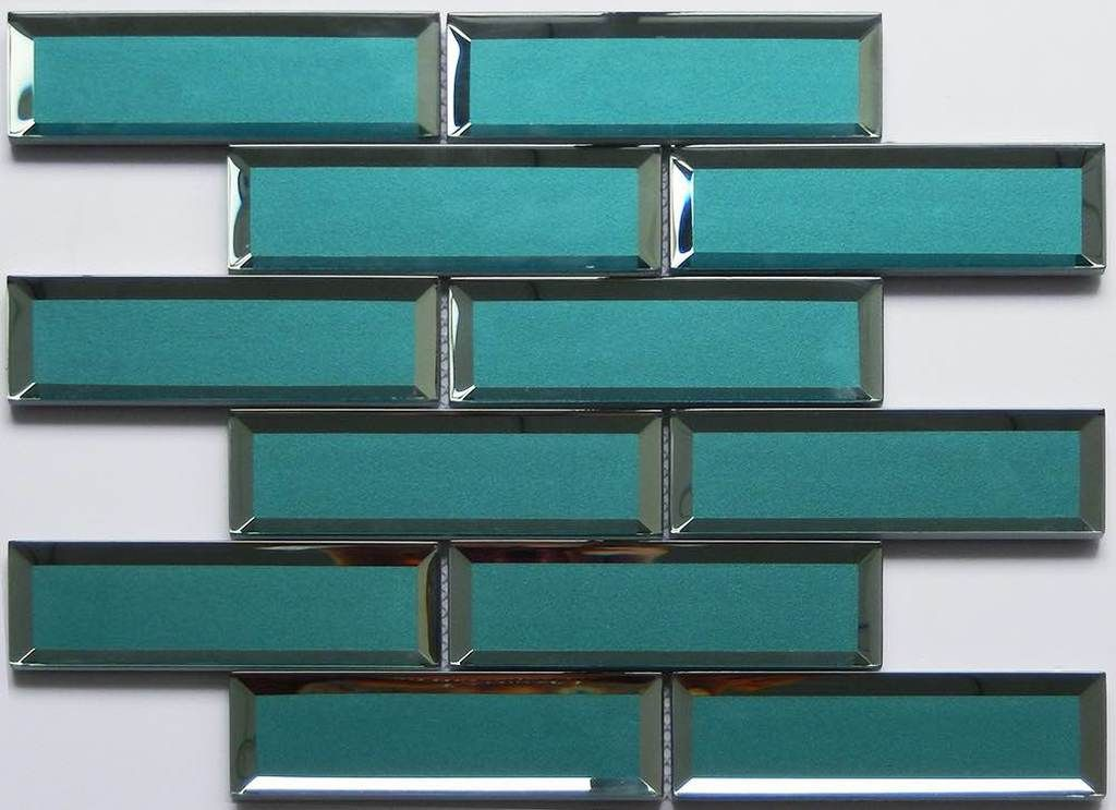 Glass Subway Tile Inverted Bevel Mirror Teal 2x6 Glass Subway Tile Grey Glass Tiles Subway Tile