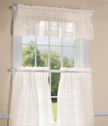 Window Pane Sheer Tailored Valance Country Curtains