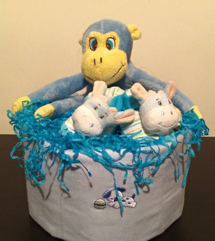 Baby boy Monkey Diaper Cake