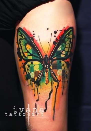 Photo of Hundegesicht Schmetterling Tattoo Bunte funky Hundegesicht Tattoo auf der linken…