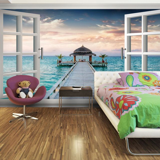 Attractive Elements Of The Space Living Room Bedroom Wallpaper Mural Backdrop Wallpaper  Romantic Sea Fake Windows