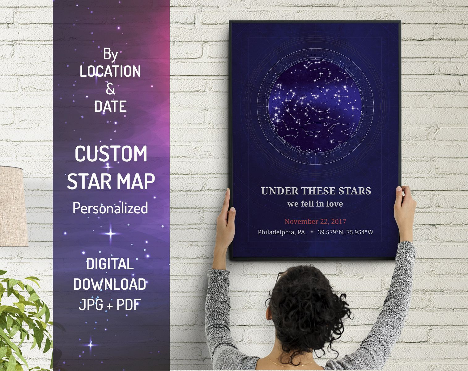 Custom Star Map by Date and Coordinates as Anniversary Gift