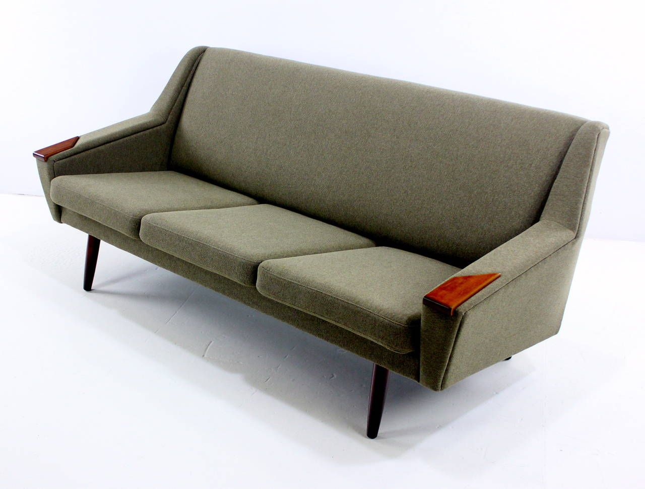 Classic Danish Modern Sofa With Teak Arm Accents From A Unique