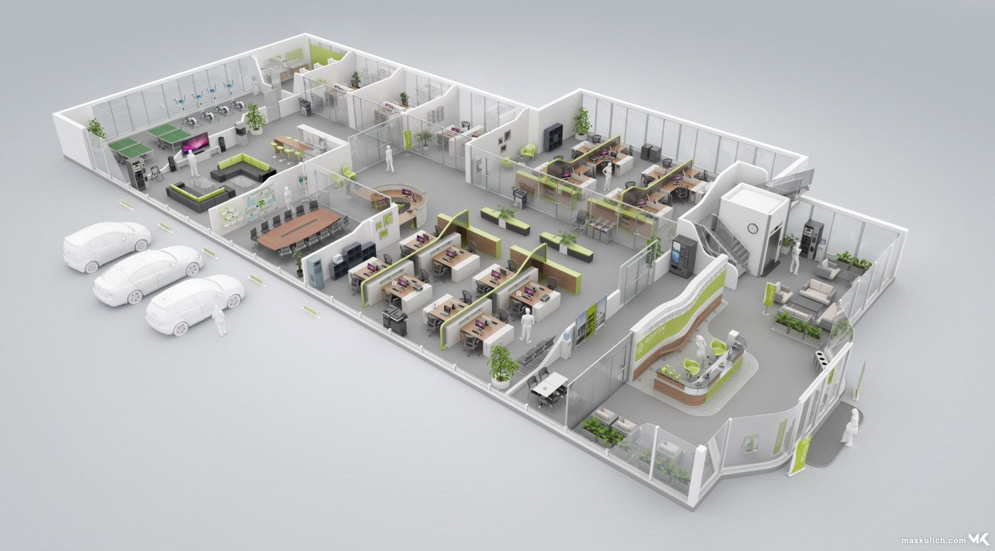 3d Floor Plan Of A Modern Green Office Floor Dengan Gambar Kantor