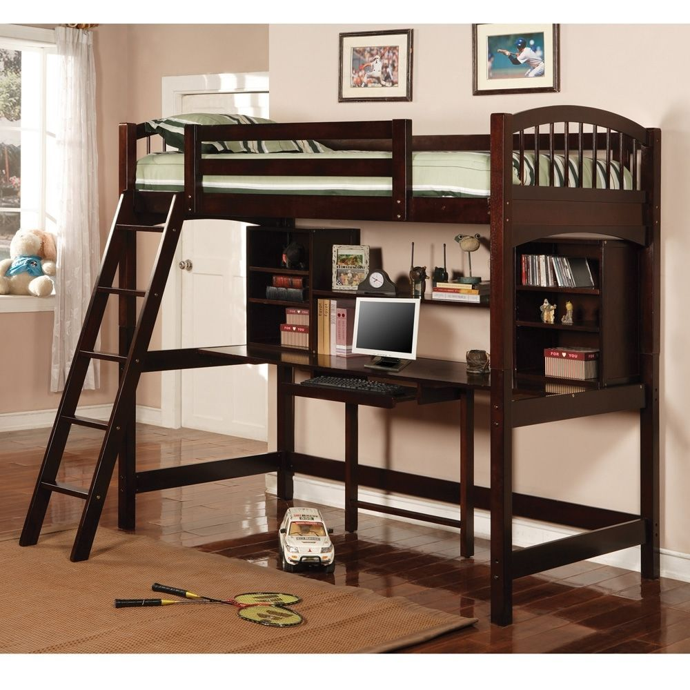 Bedroom furniture twin workstation bunk bed cappuccino finish