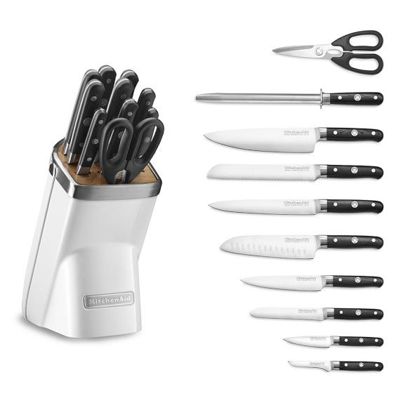 kitchenaid 11 piece professional knife block set frosted pearl rh pinterest com