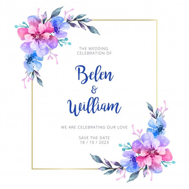 Discover the best free resources of Floral Frame Watercolor wedding invitations Wedding