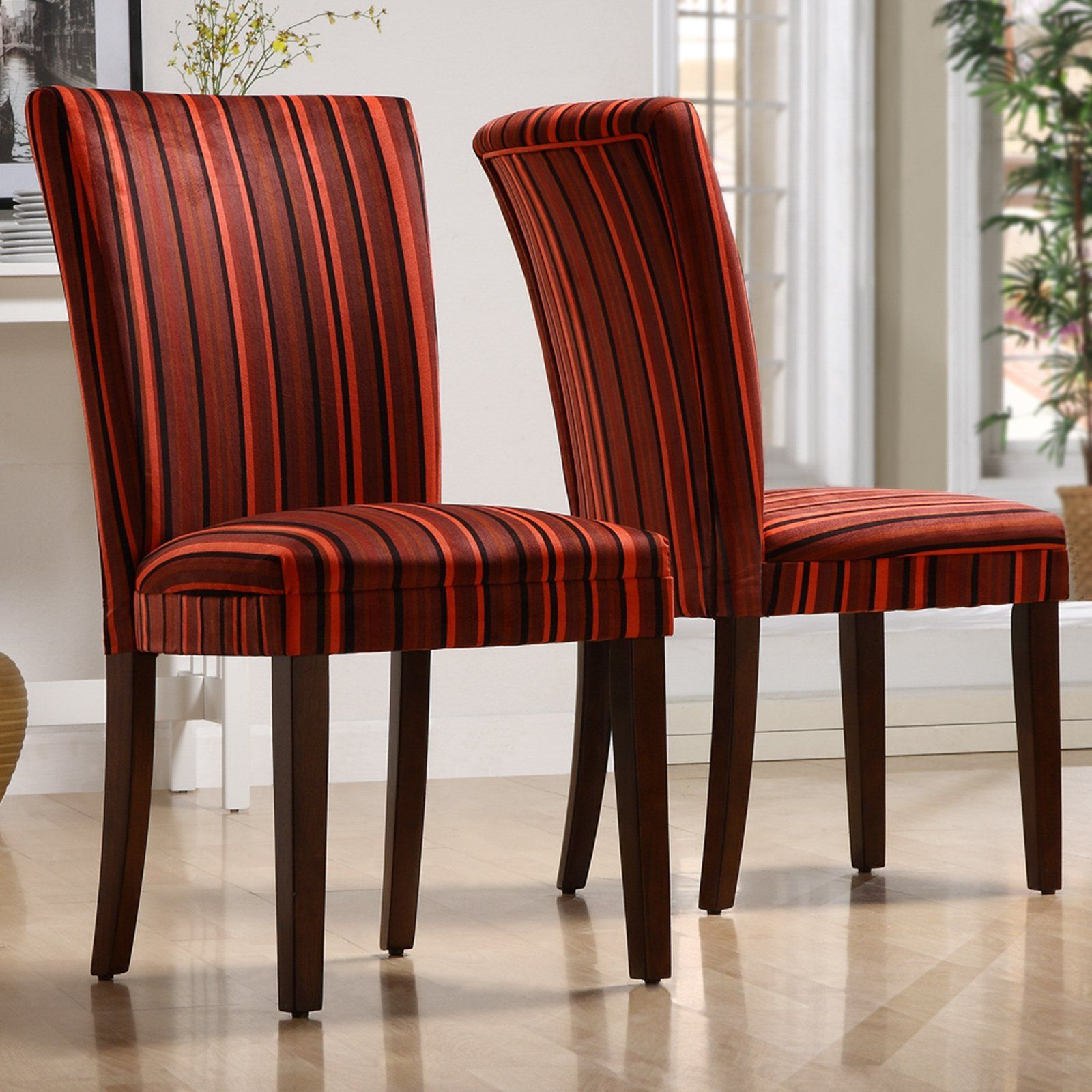 Homelegance royal red striped design fabric parson chairs for Red dining room chairs