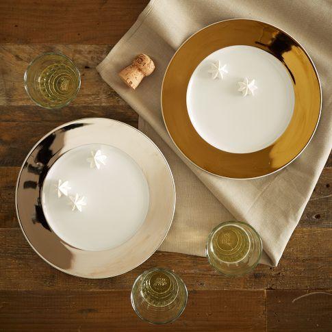 Metallic Banded Dessert Plate Set Contemporary Dinnerware