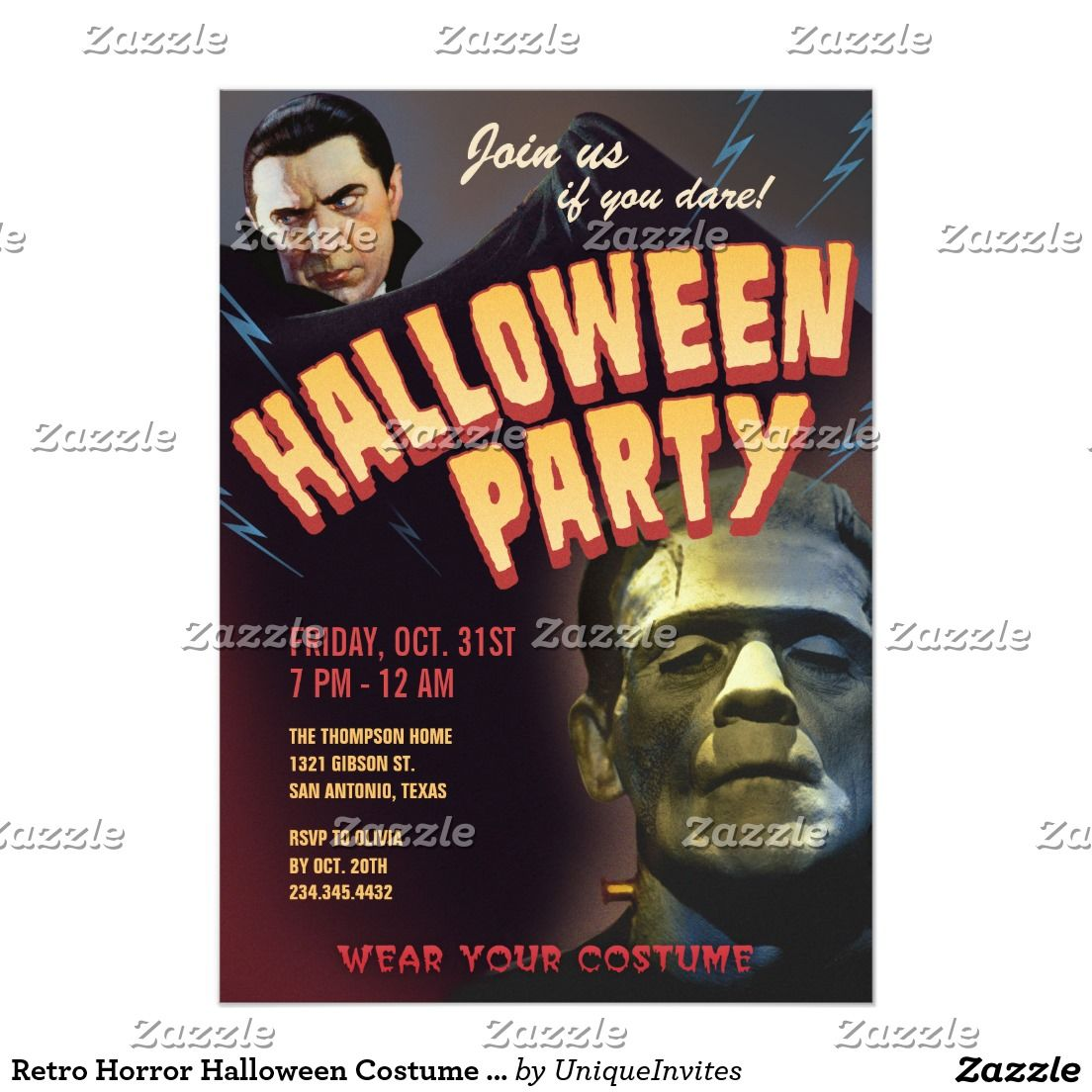 Retro Horror Halloween Costume Party Invitations | Trick or Treat ...