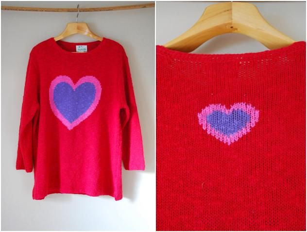 1980's Oversized Red Novelty Heart Sweater    www.etsy.com/shop/quietesvousvintage