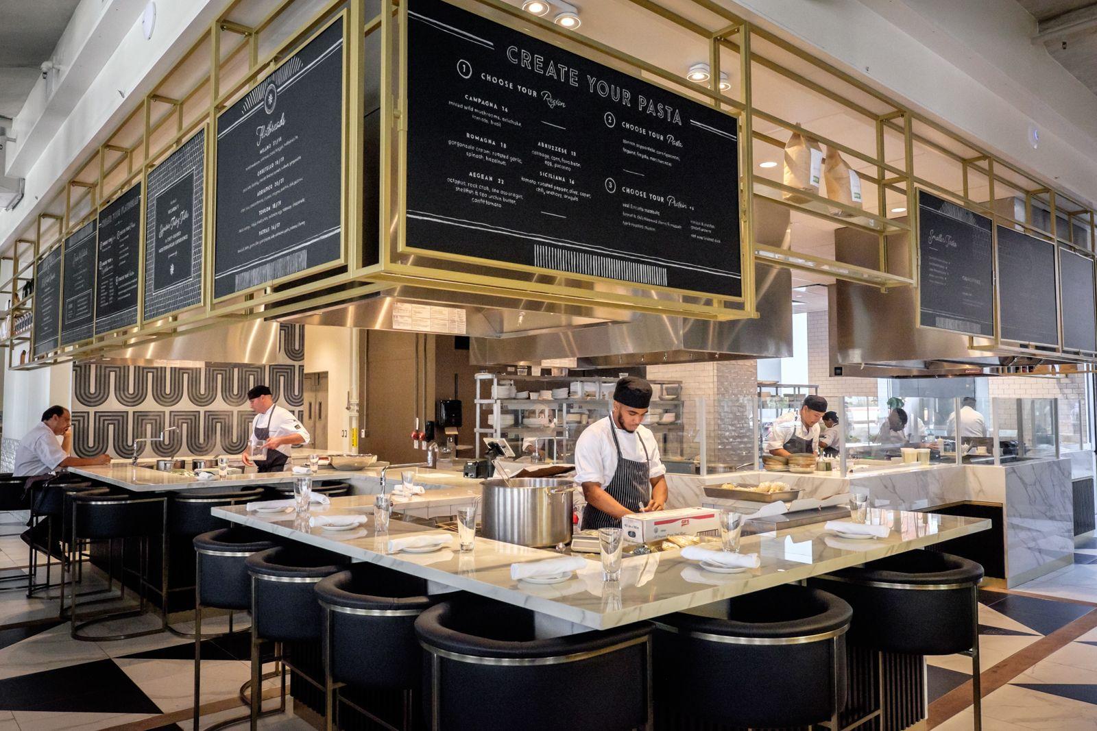 What S On The Menu At Ricarda S A New All Day Mediterranean Restaurant Open Kitchen Restaurant Restaurant Kitchen Restaurant Design