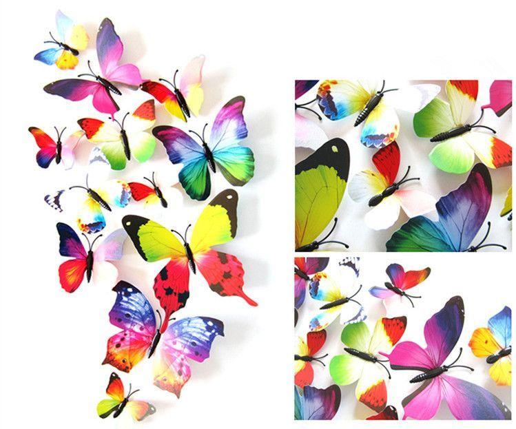 15 Colors 12pcs/lot PVC Butterfly 3D Wall Sticker Home Art Design Wall  Decor Bedroom