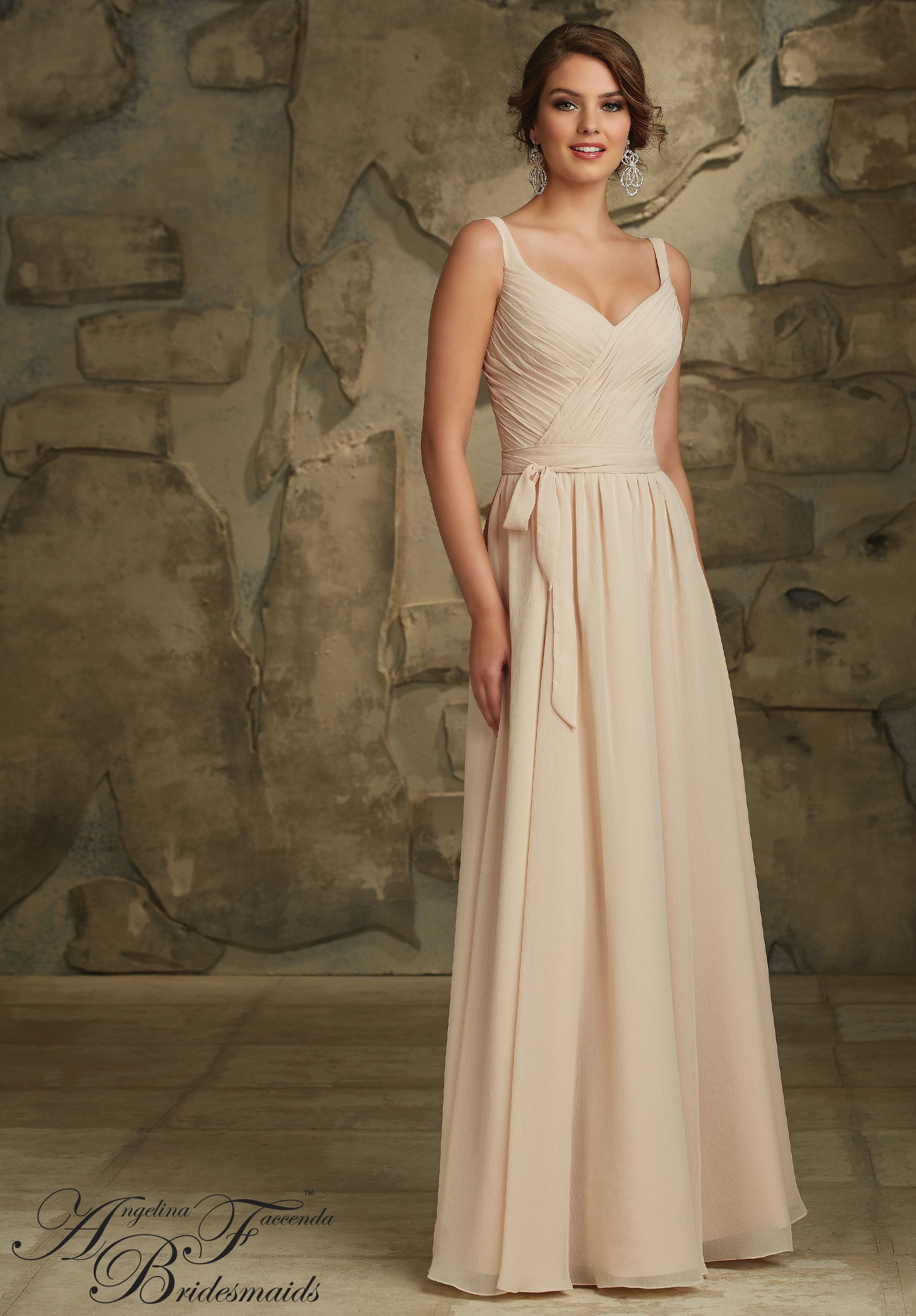 6dcb43267922 Bridesmaids Dresses by Angelina Feccenda Luxe Chiffon Zipper Back. Shown in  Champagne. Available in all Luxe Chiffon Colors.