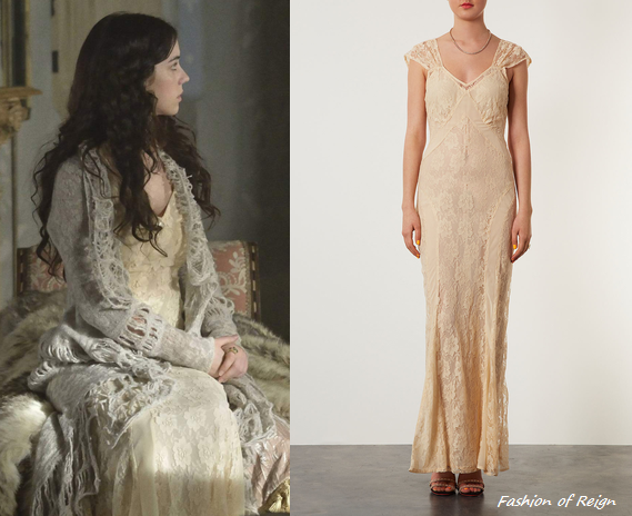 Well, it was quite unexpected (great nonetheless) choice! In the sixth episode Mary wears this sold outTopshop Limited Edition Lace Panel Maxi Dress. Worn with Gillian Steinhardt signet ring.