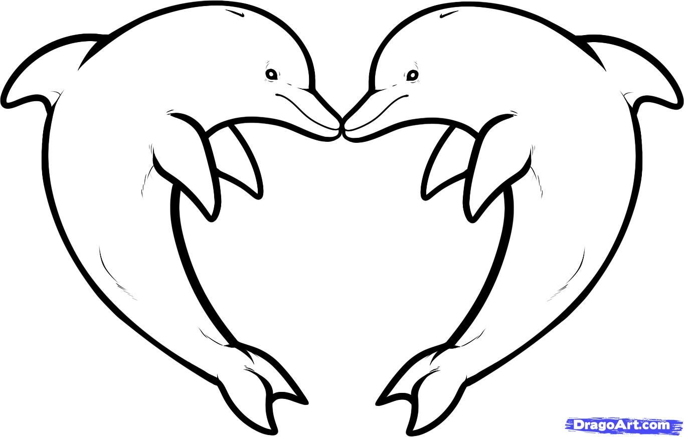 Dolphin Heart Drawing Out Lines | Step 10. How to Draw Love Dolphins ...