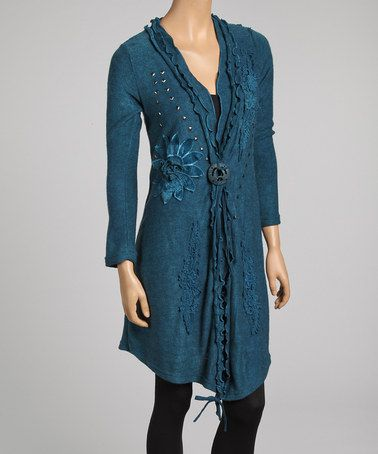 Take a look at this Turquoise Daisy Applique Linen-Blend Open Cardigan by Pretty Angel on #zulily today!