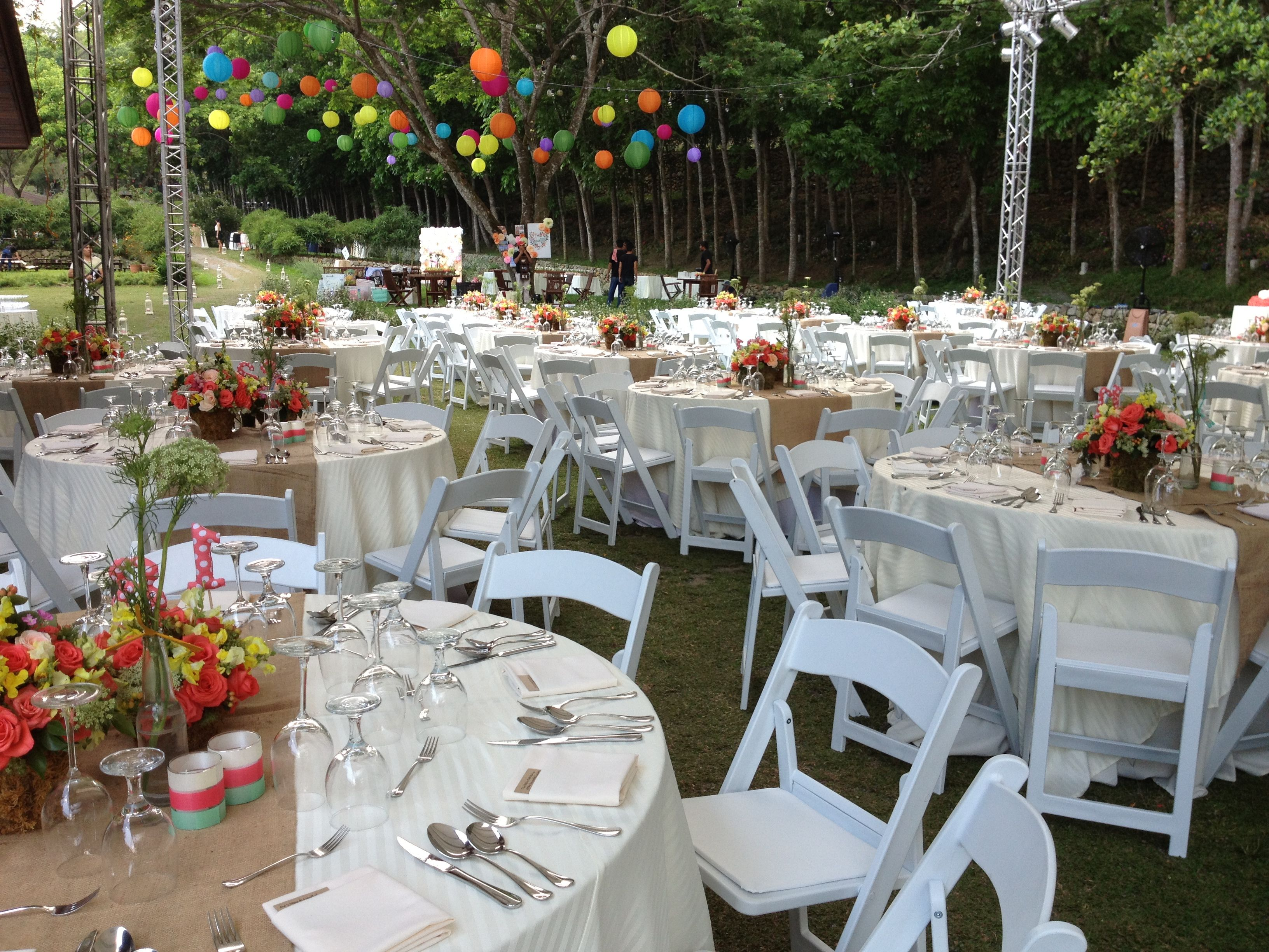 Reserv s White Folding Chairs at wedding held at Angelfields in