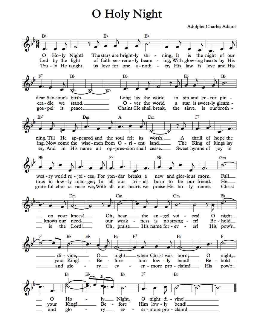 Free Lead Sheet O Holy Night Free Sheet Music Clarinet