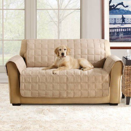 Sure Fit Ultimate Waterproof Quilted Pet Loveseat Cover Brown Sofa Throw Covers