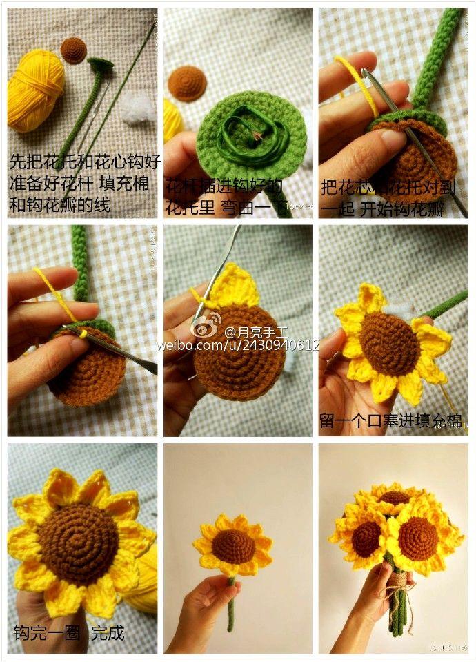 Ergahandmade crochet sunflower diagrams crochet flowers ergahandmade crochet sunflower diagrams ccuart Images