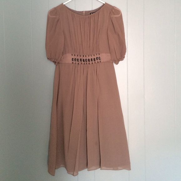 BCBG dress BCBG gray chiffon dress. Slight spot towards bottom, otherwise good condition. BCBG Dresses