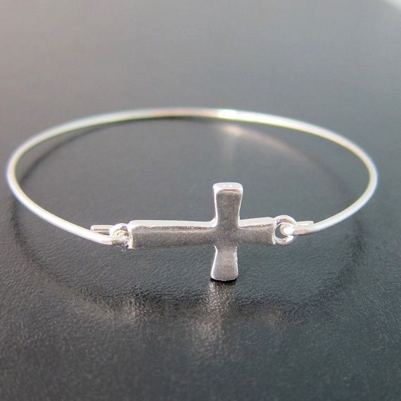 Sideway Cross Sterling Silver Womens Bangle Bracelet