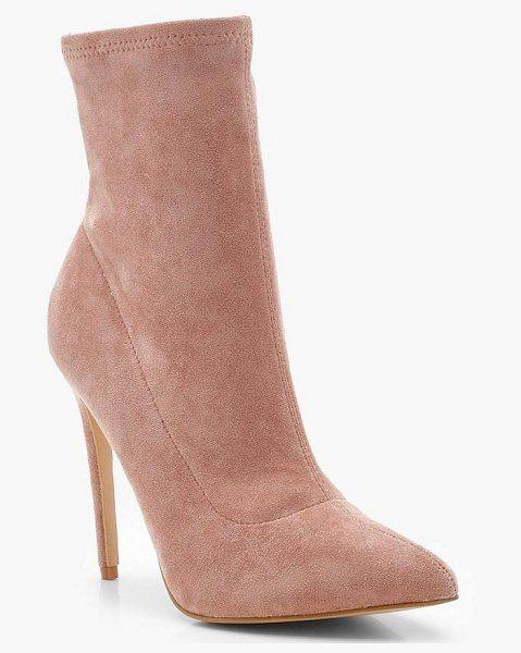 f755ea3a334d Boohoo Pointed Toe Stiletto Sock Boots.  boohoo  nudeshoes