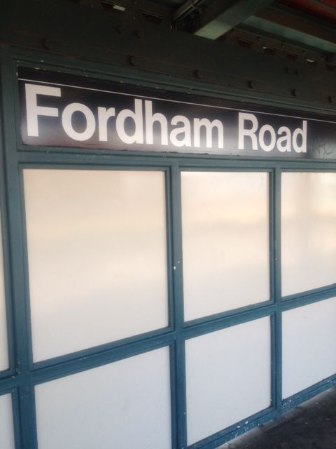 Fordham Road Station Sign Along The Elevated 4 Train Route Bronx Ny Summer 2012 Train Route Concrete Jungle Bronx